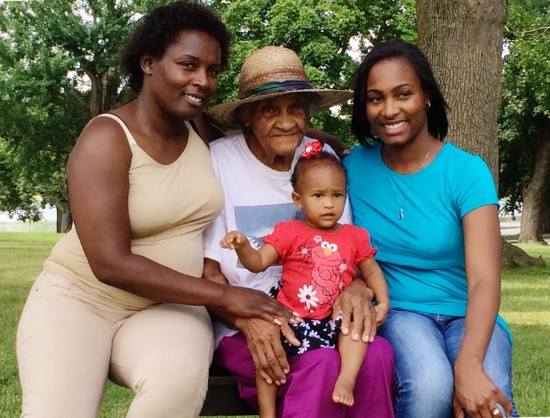 Cordelia Miller and granddaughter Joanne Lathon, great-granddaughter Tia Javier, and great-great granddaughter Mia.